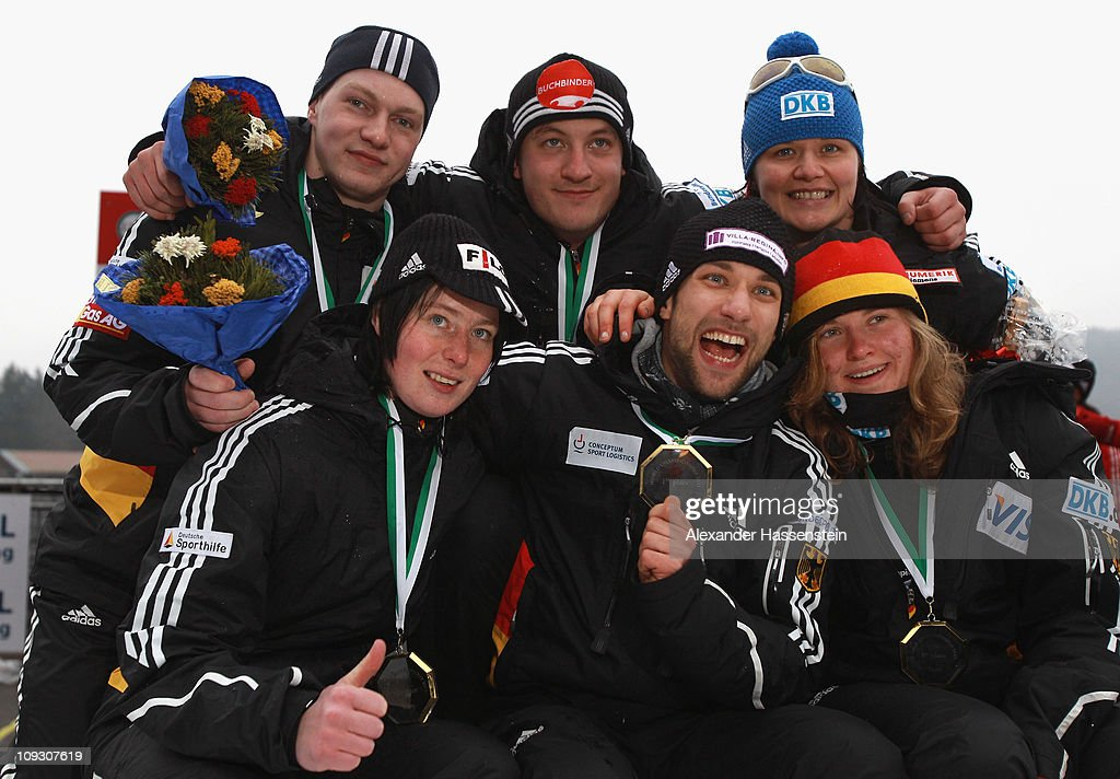 Team Germany 2 Marion Thees (L, front row, Skeleton), Michi Halilovic (C, front row, Skeleton), Stephanie Schneider (R, front row Bob), Florian Becke (L, back row, Bob), Francesco Friedrich (C, back row, Bob pilot) and <a gi-track='captionPersonalityLinkClicked' href=/galleries/search?phrase=Sandra+Kiriasis&family=editorial&specificpeople=211078 ng-click='$event.stopPropagation()'>Sandra Kiriasis</a> (R, back row, Bob pilot) after final run at the Team Competition World Championship on February 20, 2011 in Koenigssee, Germany.