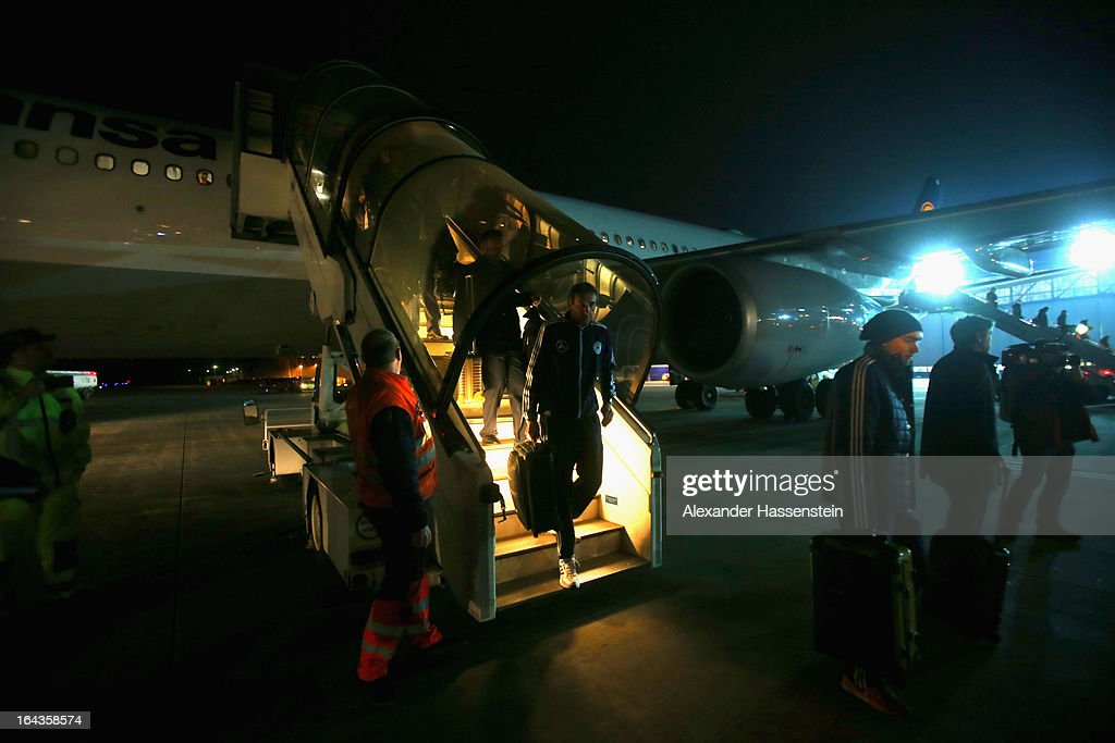 Team Germany arrives from Astana, Kazakhstan, at Nuremberg airport after their FIFA 2014 World Cup qualifier group C match between Kazakhstan and Germany on March 23, 2013 in Nuremberg, Germany.