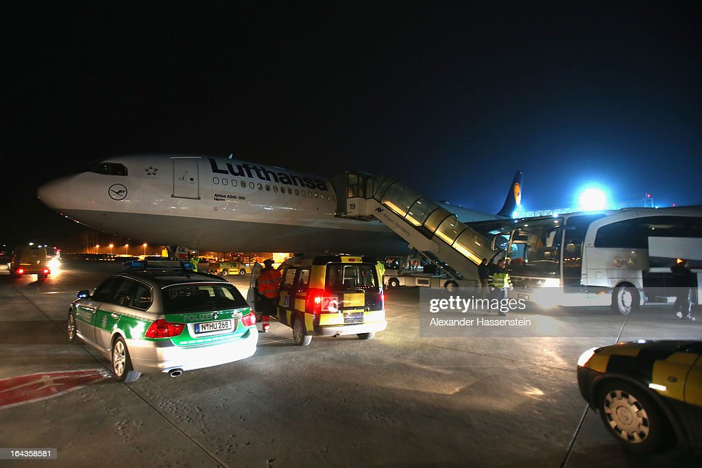 Team Germany arrives with their Lufthansa Airbus A 340 charter plane from Astana, Kazakhstan, at Nuremberg airport after their FIFA 2014 World Cup qualifier group C match between Kazakhstan and Germany on March 23, 2013 in Nuremberg, Germany.