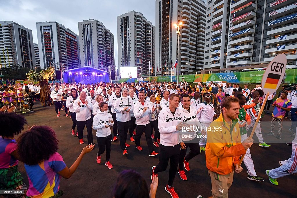 Team Germany athletes for the Rio 2016 Olympic Games attend their welcome ceremony at the Athletes village on August 3, 2016 in Rio de Janeiro, Brazil.