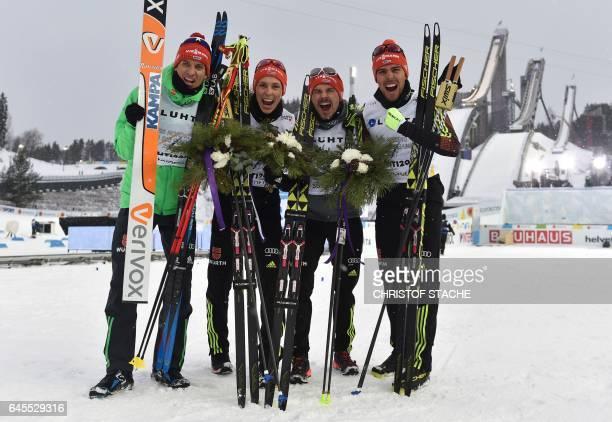 Team Germany Bjoern Kircheisen Eric Frenzel Fabian Riessle and Johannes Rydzek pose after they won the men's nordic combined NH Team Gundersen 4x5 km...