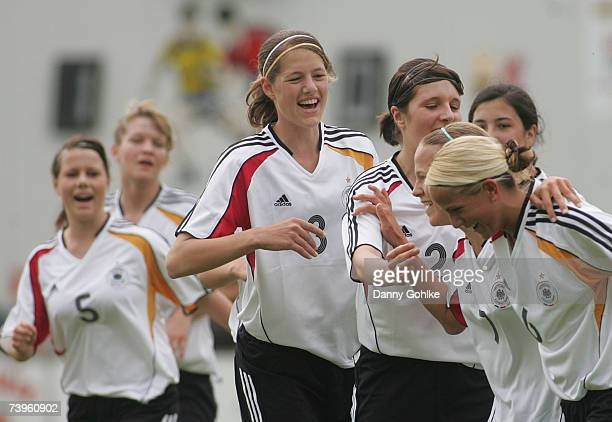 Team Germany celebrate a goal during the women's Under 17 international friendly match between Germany and Denmark at Waldsportplatz on April 24 2007...