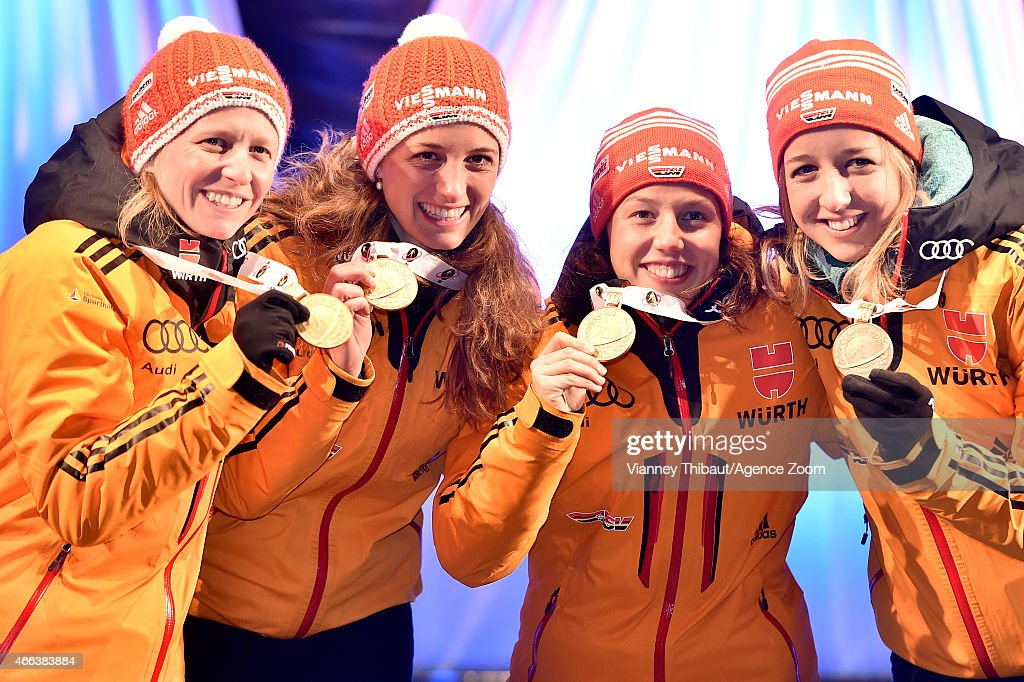 Team Germany celebrates the 1st place during the IBU Biathlon World Championships Women's Relay on March 13 2015 in Kontiolahti Finland