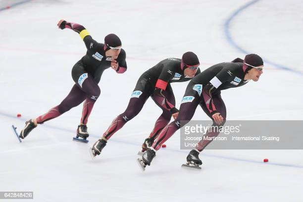 Team Germany compete in the men's team pursuit during day three of the World Junior Speed Skating Championships at Oulunkyla Sports Park on February...