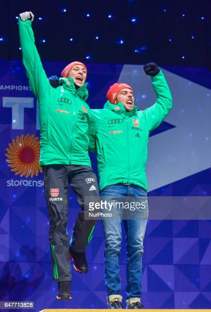 Team Germany during the Awards Ceremony as they take Gold in Team Sprint LH / 2 x 77 km in Nordic Combined at FIS Nordic World Ski Championship 2017...