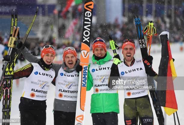 Team Germany Eric Frenzel Fabian Riessle Bjoern Kircheisen and Johannes Rydzek pose after winning the men's nordic combined NH Team Gundersen 4x5 km...