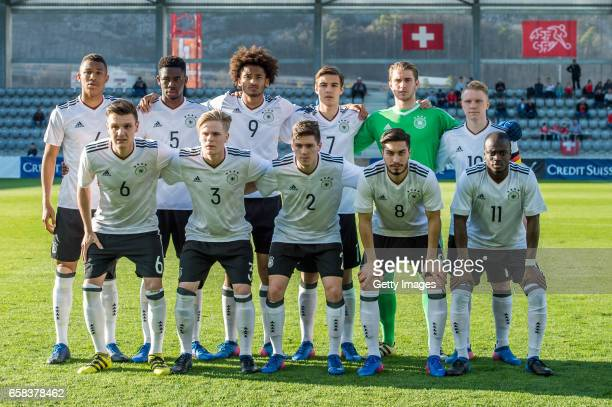 Team Germany from top left #4 Ohis Felix Uduokhai #5 Jordan Torunarigha #9 Emmanuel Iyoha #7 Florian Neuhaus #1 Goalkeeper Nikolai Rehnen and Philipp...