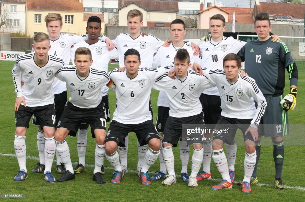 Team Germany front row L to R Cedric Teuchert,Lukas Boeder,Ufuk Akyol, David Kammerbauer, Michael Strein Back row L to R Andreas Jacobsen, Gedion Zezalem,Tim Becker, Oguzhan Aydogan, Max Besuschkow, Nikolas Tix during the International Friendly match between U16 Germany and U16 Chile on March 26, 2013 in La Roche-sur-Yon, France.