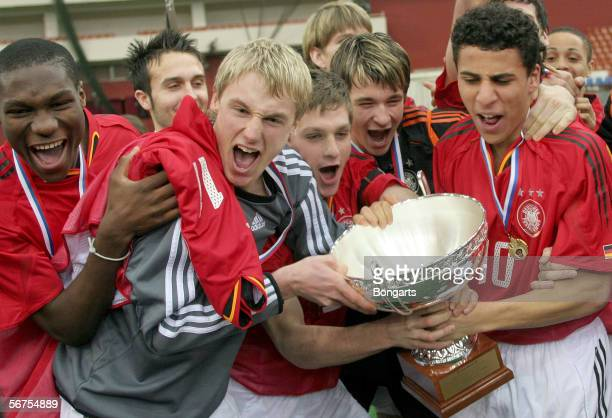 Team Germany hold the trophy after the men's Under 18 final match between Germany and Slovakia at the International St Petersburg Under 18 Tournament...