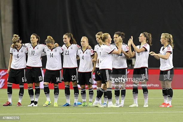 Team Germany lines up at center field for the shootout during the FIFA Women's World Cup Canada 2015 quarter final match between Germany and France...