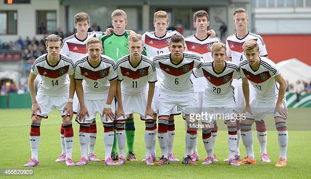 Team Germany lines up for the media during the KOMM MIT tournament match between U17 Germany and U17 Israel on September 14 2014 in Rain am Lech...