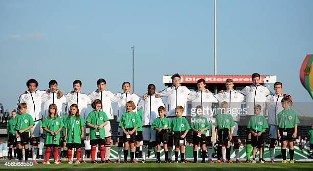 Team Germany lines up for the national anthem during the international friendly match between Germany U16 and Austria U16 at MAR Arena on October 2...