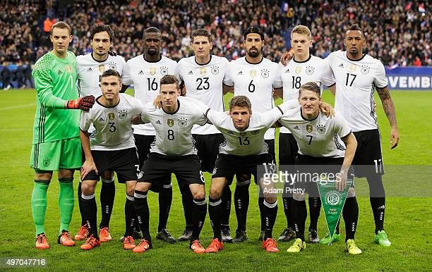 Team Germany pose for a photo before the International Friendly match between France and Germany at the Stade de France on November 13 2015 in Paris...