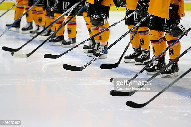 Team Germany prior to match 2 of the Deutschland Cup 2015 between Germany and Switzerland at CurtFrenzelStadion on November 6 2015 in Augsburg Germany