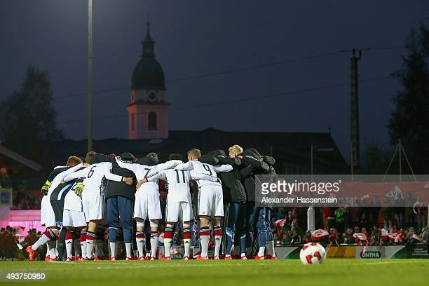 Team Germany prior to the U16 international friendly match between Austria and Germany at Buergerausee stadium on October 22 2015 in Kuchl Austria