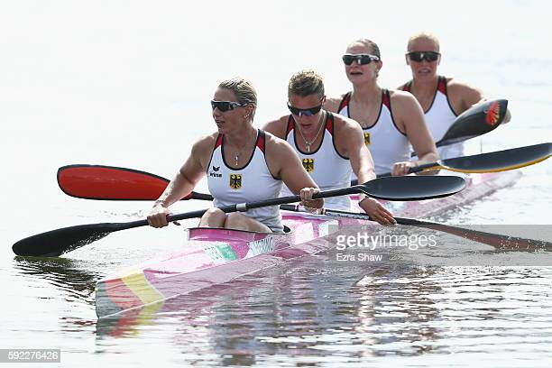 Team Germany reacts after winning the silver medal in the Women's Kayak Four 500m Finals on Day 15 of the Rio 2016 Olympic Games at the Lagoa Stadium...