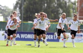 Team Germany reacts after winning the Women's U17 European Championship Final between France and Germany at the Colovray Stadium on June 29 2012 in...