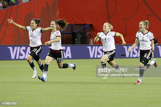 Team Germany run as they celebrate their win over France during the FIFA Women's World Cup Canada 2015 quarter final match between Germany and France...