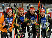 Team Germany takes 1st place during the IBU Biathlon World Championships Women's Relay on March 13 2015 in Kontiolahti Finland