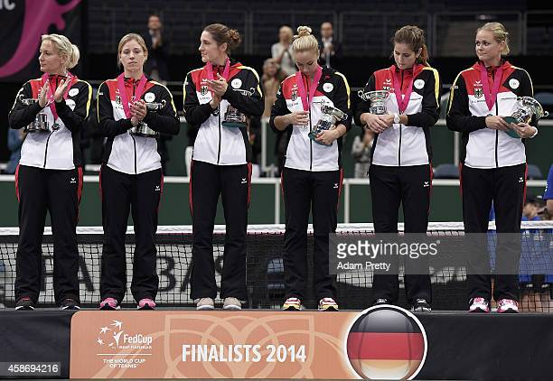 Team Germany with their runners up trophies after losing to the Czech Republic in the Fed Cup Final between the Czech Republic and Germany on...