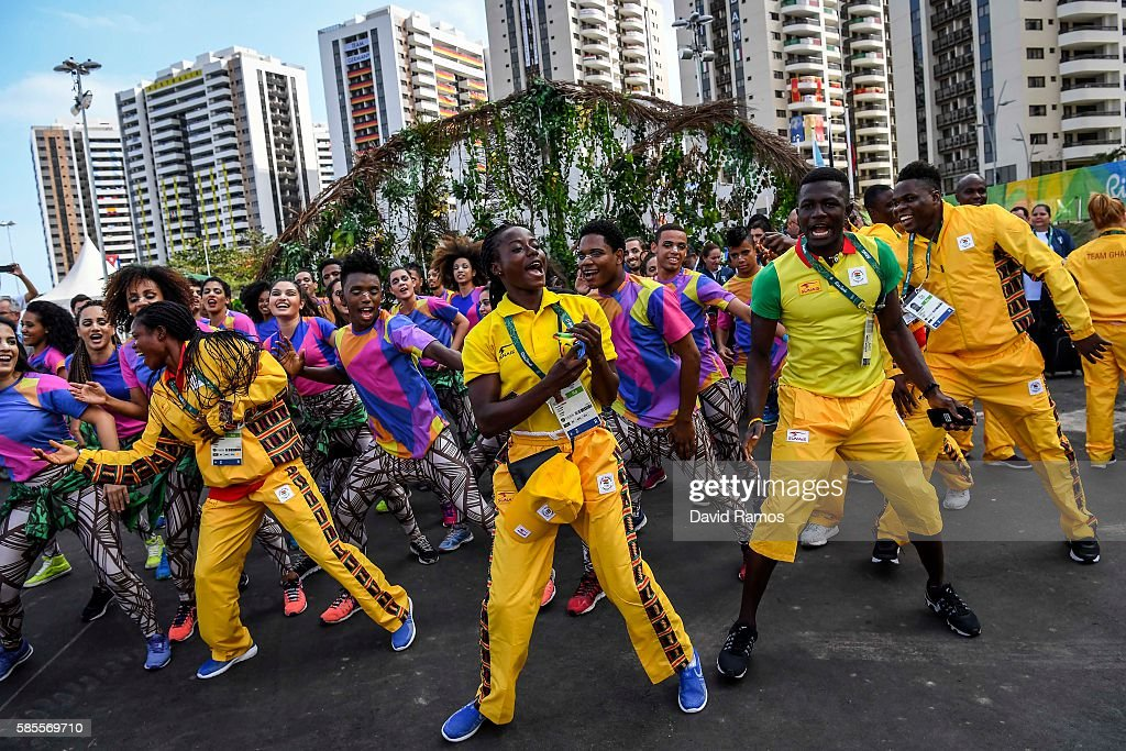 Team Ghana athletes for the Rio 2016 Olympic Games attend their welcome ceremony at the Athletes village on August 3 2016 in Rio de Janeiro Brazil