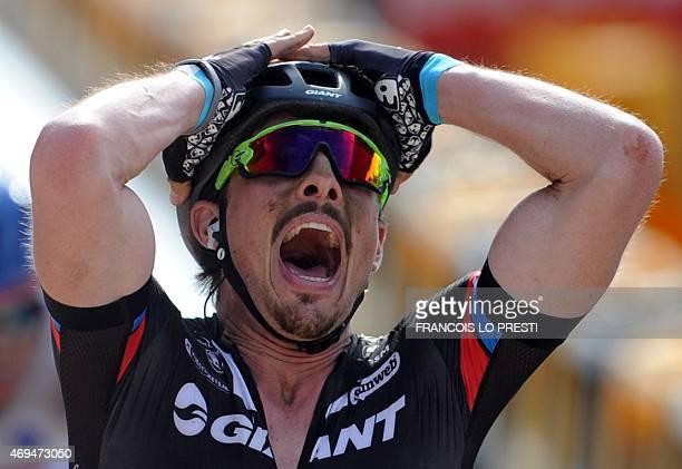 Team GiantAlpecin German cyclist John Degenkolb celebrates after winning the 113th edition of the ParisRoubaix ParisRoubaix oneday classic cycling...