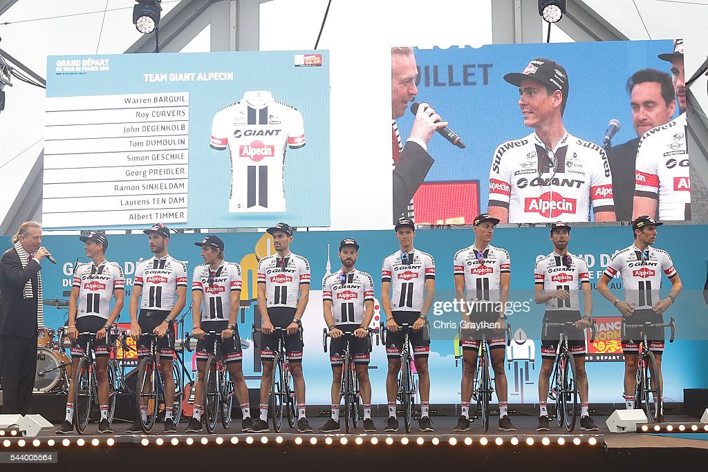 Team Giant-Alpecin is introduced during the team presentation ahead of the 2016 Le Tour de France on June 30, 2016 in Sainte-Mere-Eglise, France.