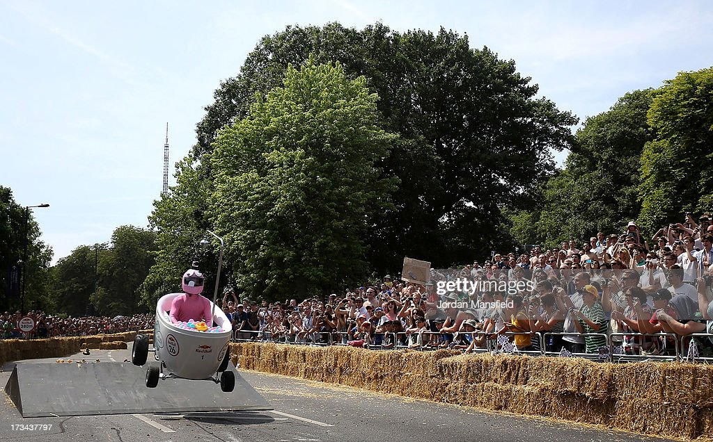 A team go over a jump during the Red Bull Saopbox Race at Alexandra Palace on July 14, 2013 in London, England. The Red Bull Soapbox Race returned to London after nine years and encourages competitors to build and race their own homemade soapboxes down a hill.