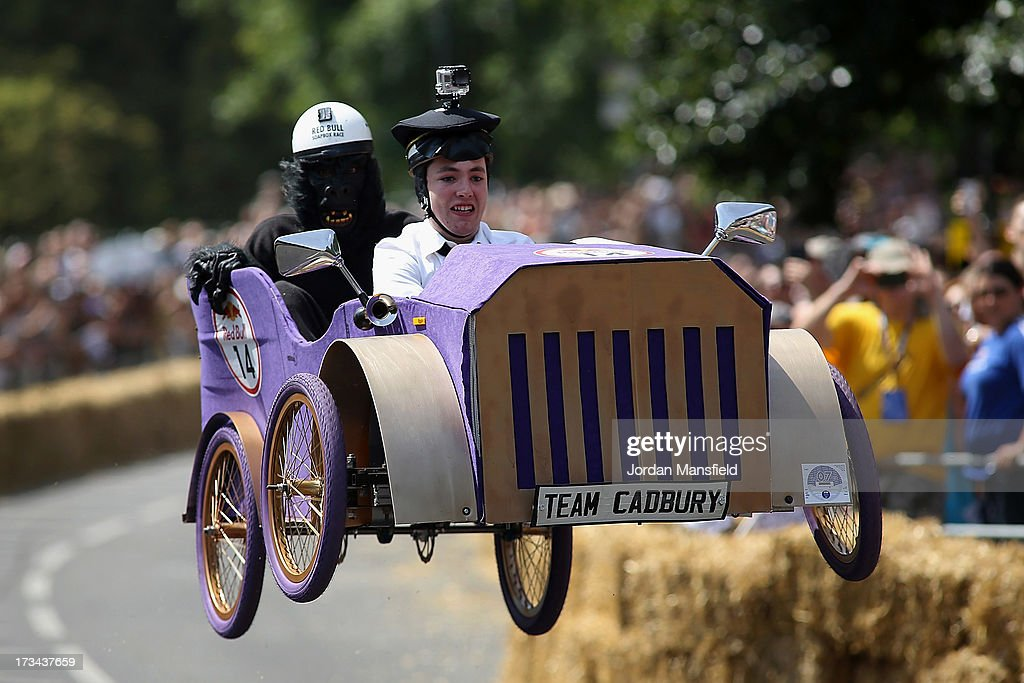 A team go over a jump during the Red Bull Soapbox Race at Alexandra Palace on July 14, 2013 in London, England. The Red Bull Soapbox Race returned to London after nine years and encourages competitors to build and race their own homemade soapboxes down a hill.