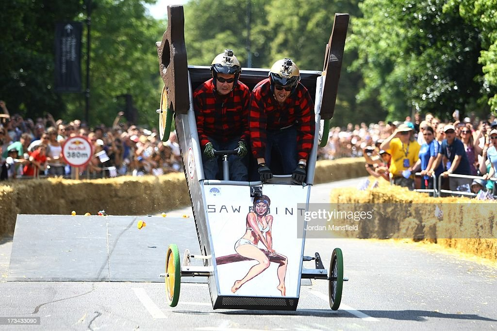 A team goes over a jump in their soapbox racer at Alexandra Palace on July 14, 2013 in London, England. The Red Bull Soapbox Race returned to London after nine years and encourages competitors to build and race their own homemade soapboxes down a hill.