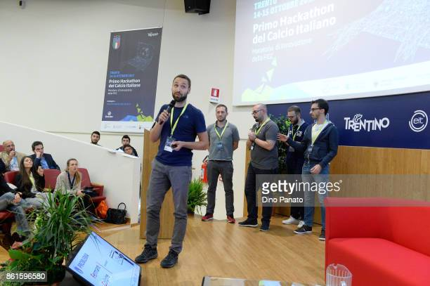Team Gonzalos attend the second day of the Hackathon Event at the University of Letters on October 15 2017 in Trento Italy
