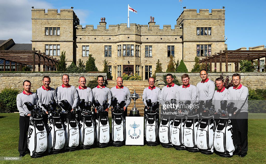Team Great Britain and Ireland (L to R) Nick Brennan, Graham Fox, Greig Hutcheon, Dan Greenwood, Richard Wallis, Russell Weir (capt), Jon Bevan (vice-capt), Scott Henderson, Gareth Wright, David Callaway, Jon Barnes and <a gi-track='captionPersonalityLinkClicked' href=/galleries/search?phrase=Benn+Barham&family=editorial&specificpeople=614232 ng-click='$event.stopPropagation()'>Benn Barham</a> pose for a photograph ahead of the 26th PGA Cup at De Vere Slaley Hall at De Vere Slaley Hall on September 18, 2013 in Hexham, England.