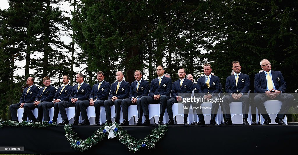 Team Great Britain and Ireland pictured during the opening ceremony ahead of the 26th PGA Cup at De Vere Slaley Hall on September 19, 2013 in Hexham, England.