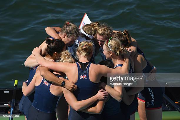 Team Great Britain celebrates winning the silver medals after the Women's Eight Final A on Day 8 of the Rio 2016 Olympic Games at the Lagoa Stadium...