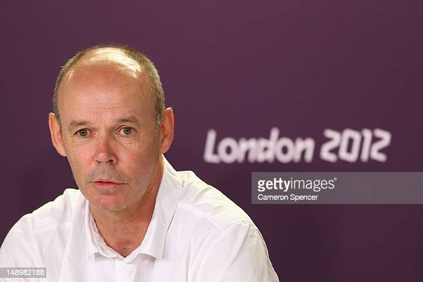 Team Great Britain Deputy Chef de Mission Clive Woodward talks during a Team Great Britain Leadership media conference at Olympic Park on July 21...