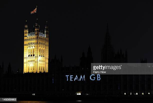 Team Great Britain is projected onto the House of Parliament during a light show to mark the start of the 2012 Olympic Games on July 27 2012 in...