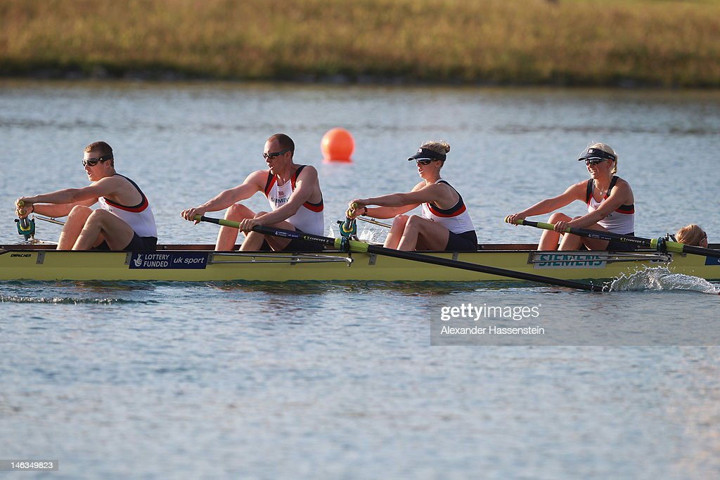 Team Great Britain with (R-L) Pamela Relph, Naomi Riches, David Smith, James Roe and Lily van den Broecke compete in the Adaptive Events Mixed Couxed Four heat during the 2012 Samsung World Rowing Cup III at the Ruderregattastrecke on June 14, 2012 in Munich, Germany.