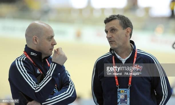 Team Great Britain's coach David Brailsford and team manager Heiko Salzwedel