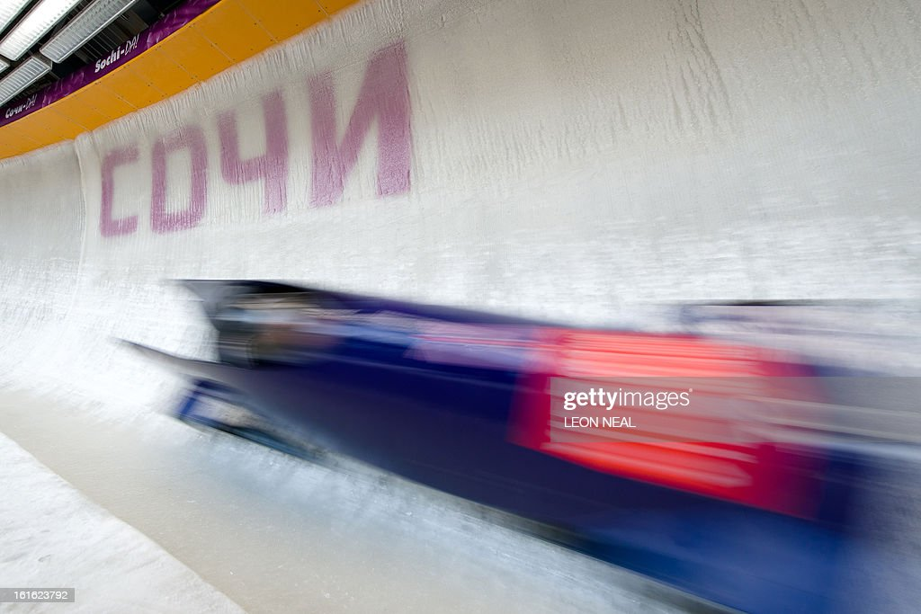 Team Great Britain's Paula Walker takes part in a training run for the Bobsleigh Women category of the FIBT Bob and Skeleton World Cup 2012/23 at the Sanki sliding centre, near Rzhanaya Polyana on February 13, 2013. With a year to go until the Sochi 2014 Winter Games, construction work continues as tests events and World Championship competitions are underway. AFP PHOTO / LEON NEAL