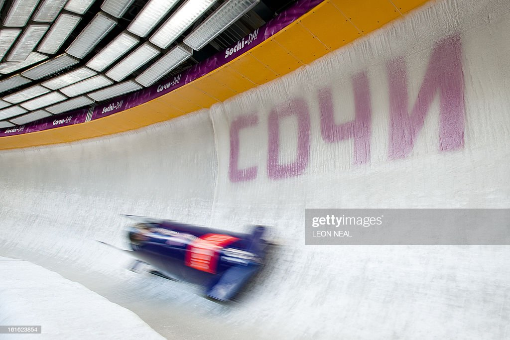 Team Great Britain's Paula Walker takes part in a training run for the Bobsleigh Women category of the FIBT Bob and Skeleton World Cup 2012/23 at the Sanki sliding centre, near Rzhanaya Polyana on February 13, 2013. With a year to go until the Sochi 2014 Winter Games, construction work continues as tests events and World Championship competitions are underway.