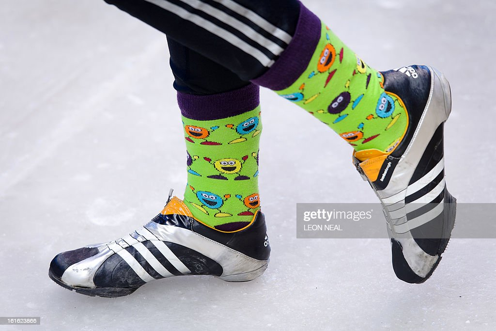 Team Great Britain's Paula Walker wears brightly coloured socks as she prepares to take part in a training run for the Bobsleigh Women category of the FIBT Bob and Skeleton World Cup 2012/23 at the Sanki sliding centre, near Rzhanaya Polyana on February 13, 2013. With a year to go until the Sochi 2014 Winter Games, construction work continues as tests events and World Championship competitions are underway.
