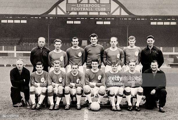 A team group photograph of Liverpool Football Club circa 1964 Back row left to righ Reuben Bennett Gordon Milne Gerry Byrne Tommy Lawrence Ronnie...