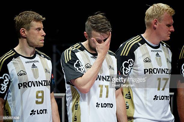 EHF Final Four THW Kiel Gudjon Valur Sigurdsson Christian Sprenger and Patrick Wiencek upset after losing Men's Final vs SG Flensburg Handewitt at...