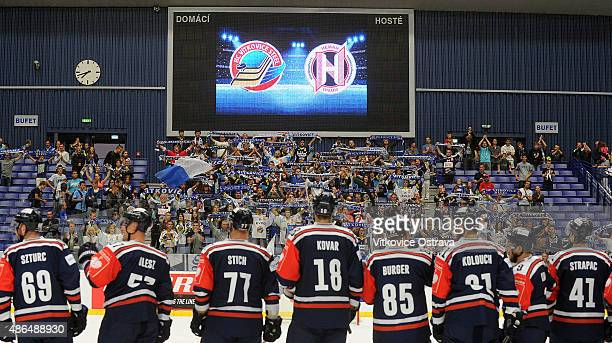 Team HC Vitkovice Ostrava celebrate with fans during the Champions Hockey League group stage game between Vitkovice Ostrava and Neman Grodno on...