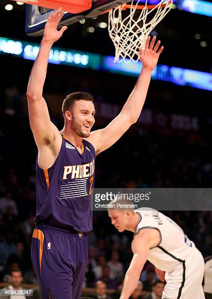 Team Hill's Miles Plumlee of the Phoenix Suns reacts after he is called for fouling Team Webber's Tim Hardaway Jr of the New York Knicks during the...