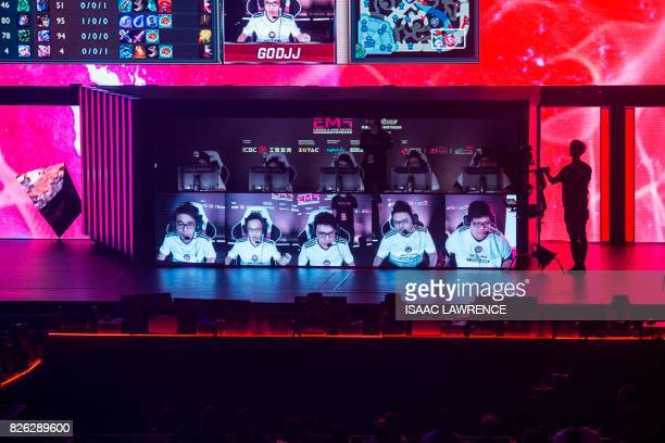 Team Hong Kong Taiwan and Macau play on stage in the League of Legends gaming tournament during the eSports and Music Festival in Hong Kong on August...