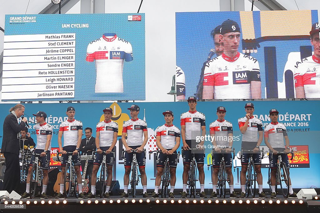 Team IAM Cycling is introduced during the team presentation ahead of the 2016 Le Tour de France on June 30, 2016 in Sainte-Mere-Eglise, France.