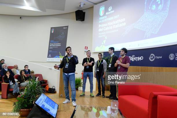 Team Index Quyaloty attend the second day of the Hackathon Event at the University of Letters on October 15 2017 in Trento Italy