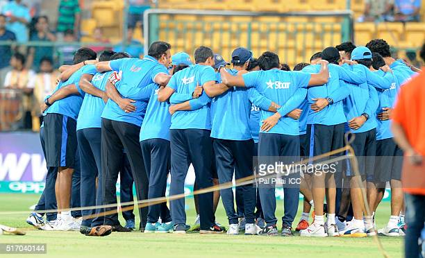 Team India before the start of the ICC World Twenty20 India 2016 match between India and Bangladesh at the Chinnaswamy stadium on March 23 2016 in...