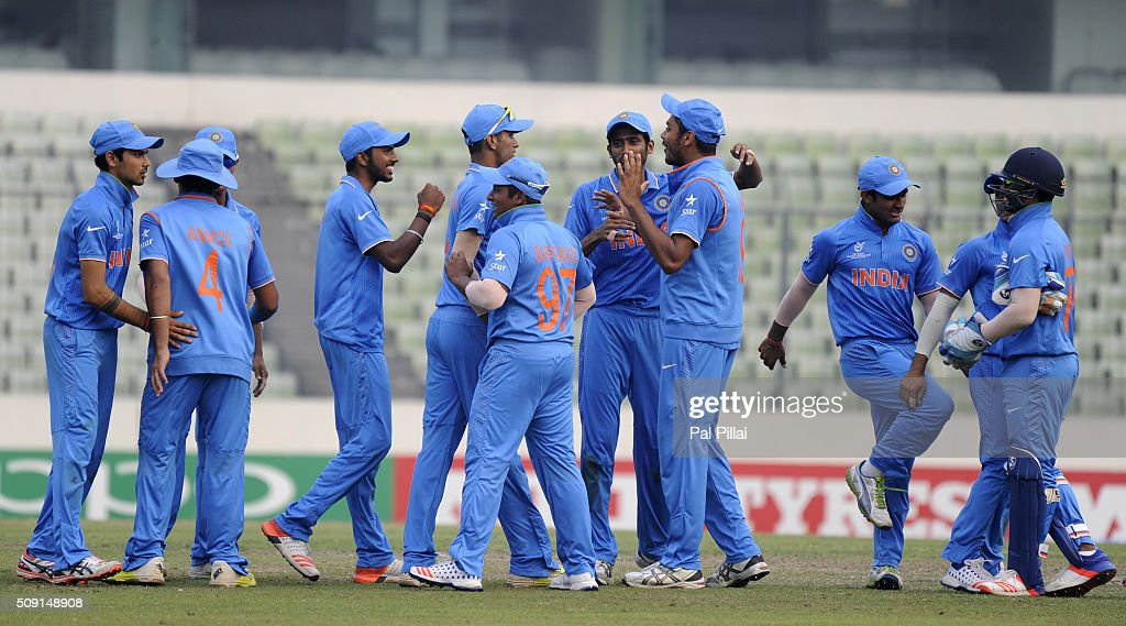 Team India celebrates as they qualify for the ICC U19 World Cup Final after winning the Semi-Final match between India and Sri Lanka on February 9, 2016 in Dhaka, Bangladesh.